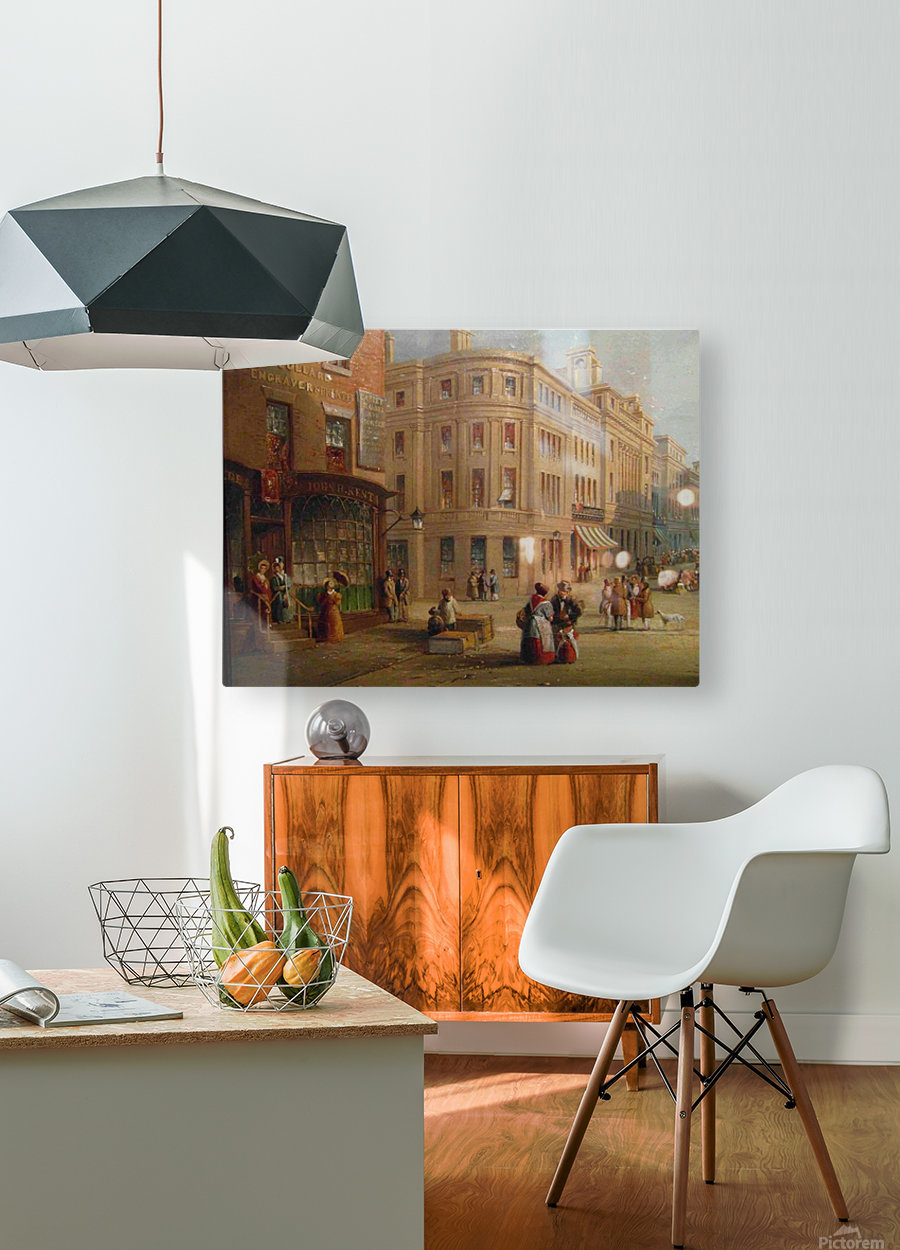 People talking in the street  HD Metal print with Floating Frame on Back