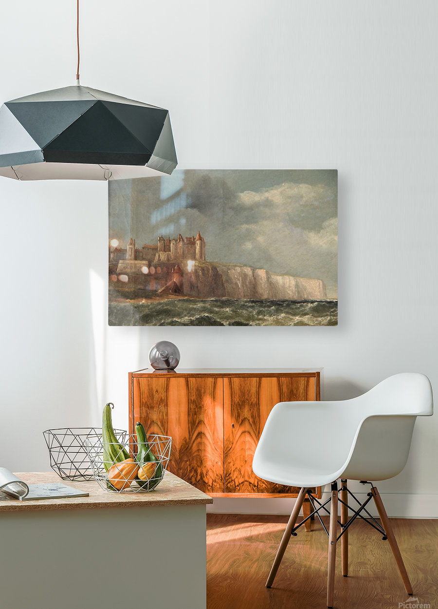 A castle on a clif  HD Metal print with Floating Frame on Back