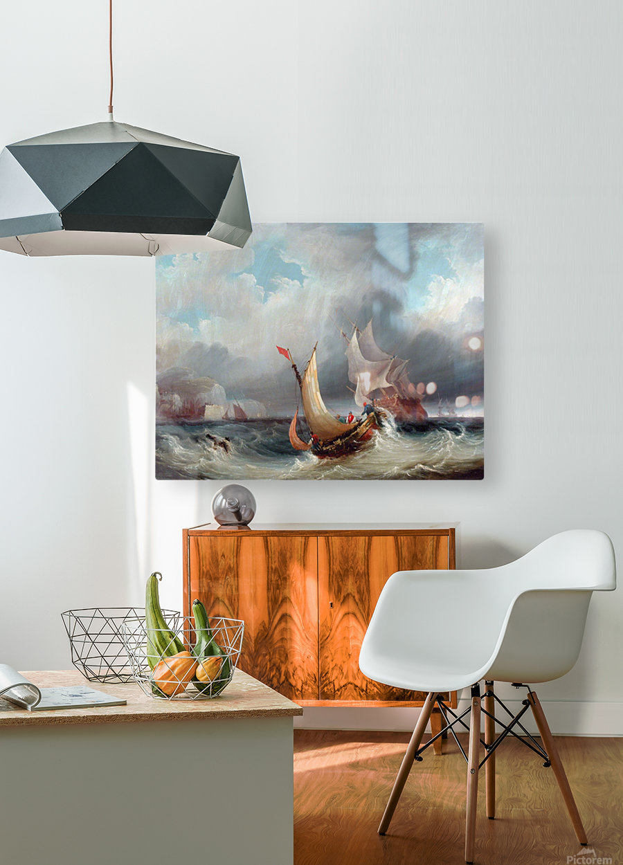 Shipping Offshore in a Stormy Sea  HD Metal print with Floating Frame on Back