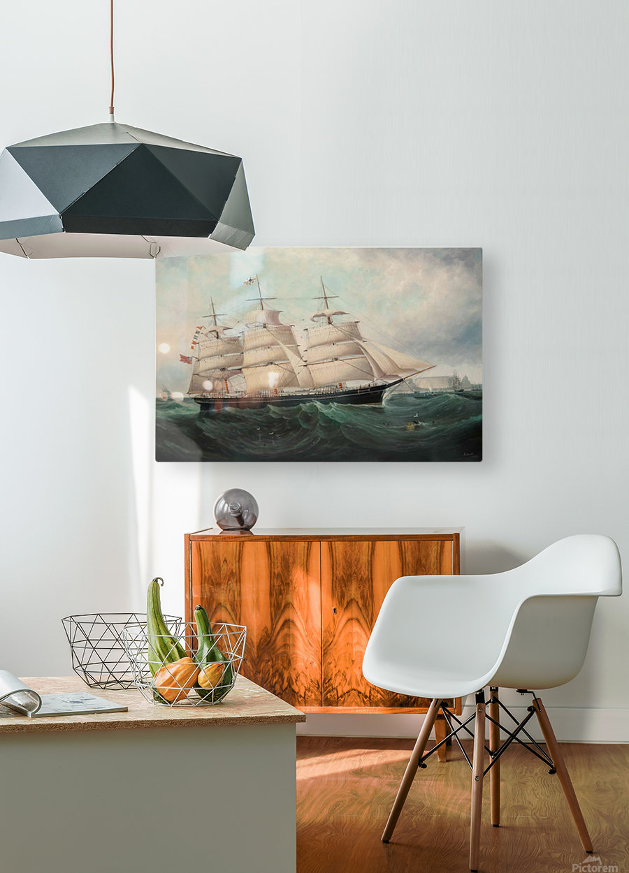 A large boat by the sea  HD Metal print with Floating Frame on Back