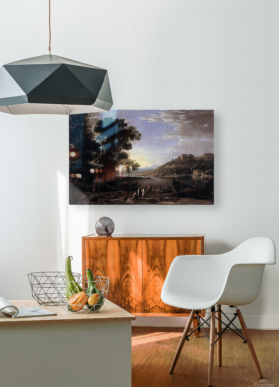 Paysage avec marchands  HD Metal print with Floating Frame on Back