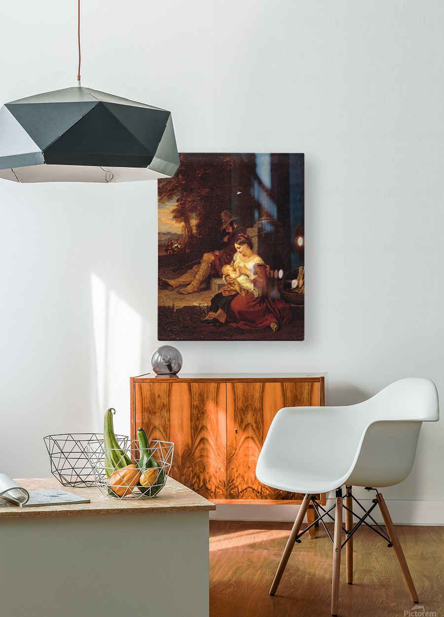 Pilgrims Reposing at a Cross  HD Metal print with Floating Frame on Back