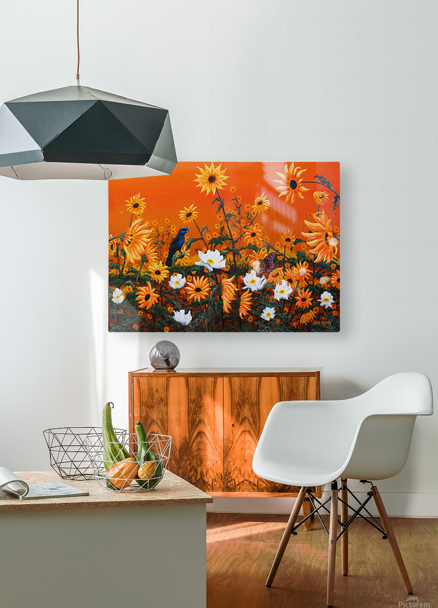 Sunflowers & Prickly Poppies  HD Metal print with Floating Frame on Back
