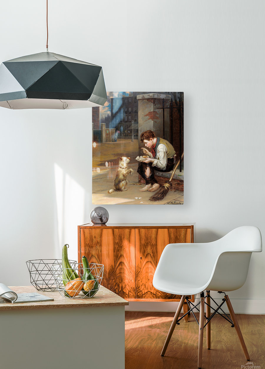 Training a small dog  HD Metal print with Floating Frame on Back
