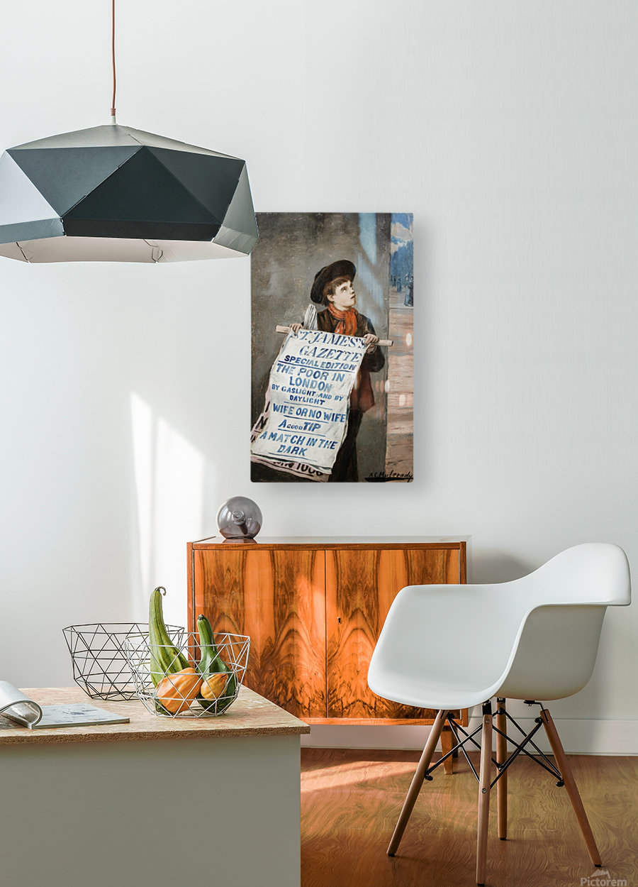 A small boy advertising the news  HD Metal print with Floating Frame on Back