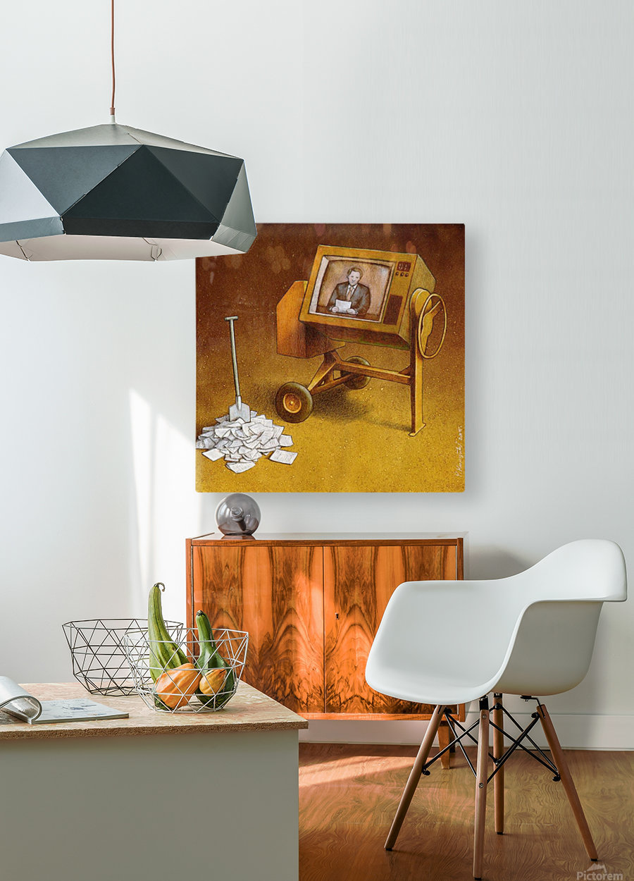 concrete mixer ( propaganda )  HD Metal print with Floating Frame on Back