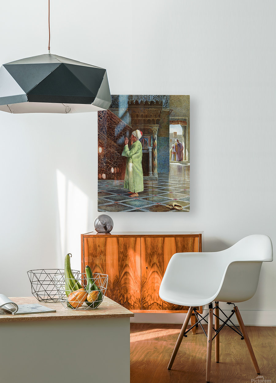 At prayer in the mosque  HD Metal print with Floating Frame on Back