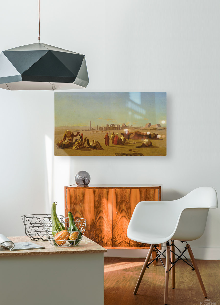 A caravan at rest, the Temple of Karnak, Thebes in the distance  HD Metal print with Floating Frame on Back