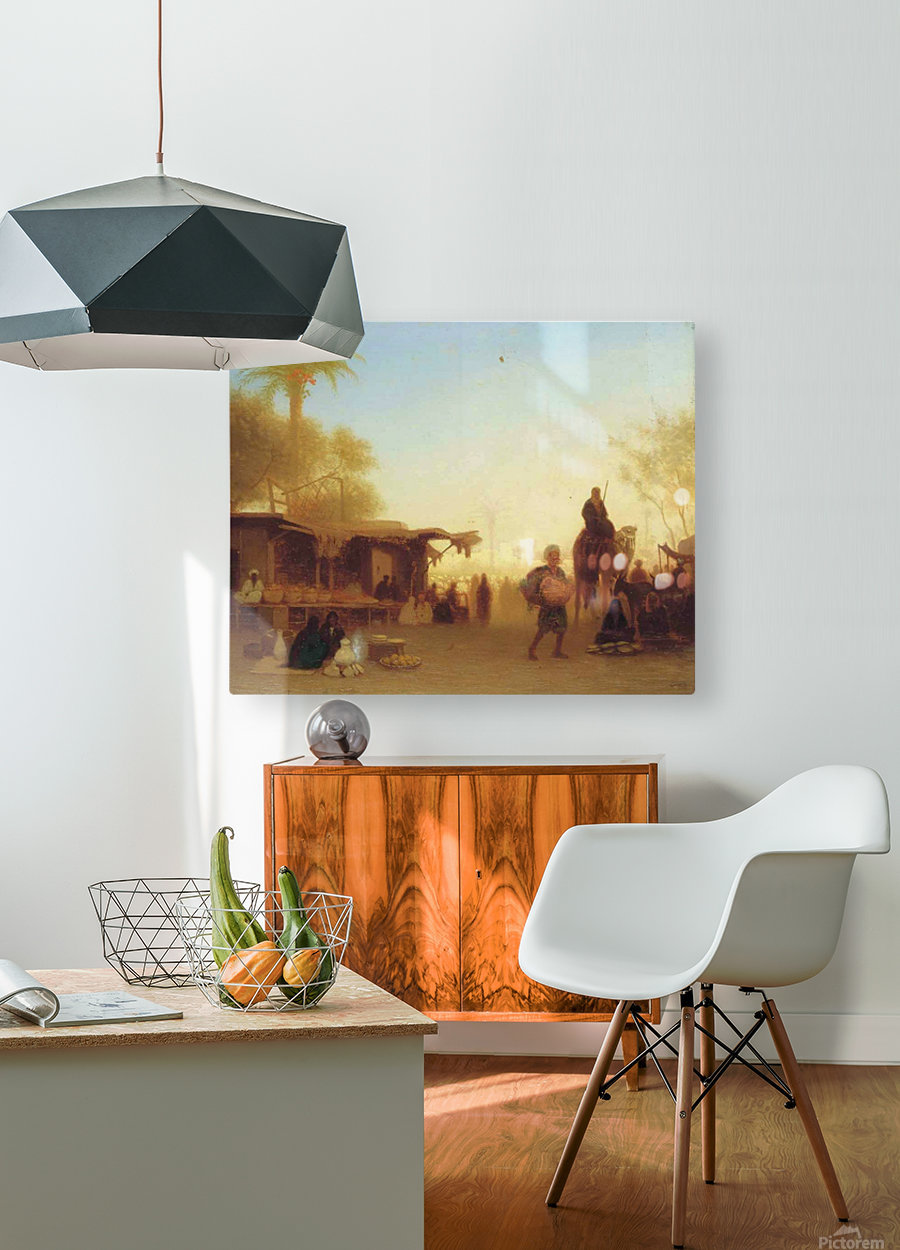 A Cairo bazaar at dusk  HD Metal print with Floating Frame on Back