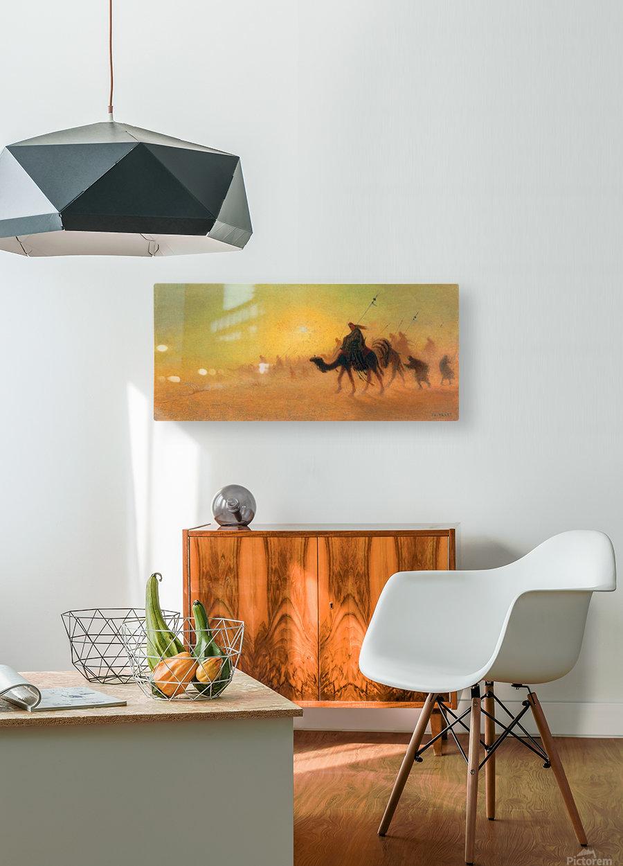 Caravan traveling in the desert  HD Metal print with Floating Frame on Back