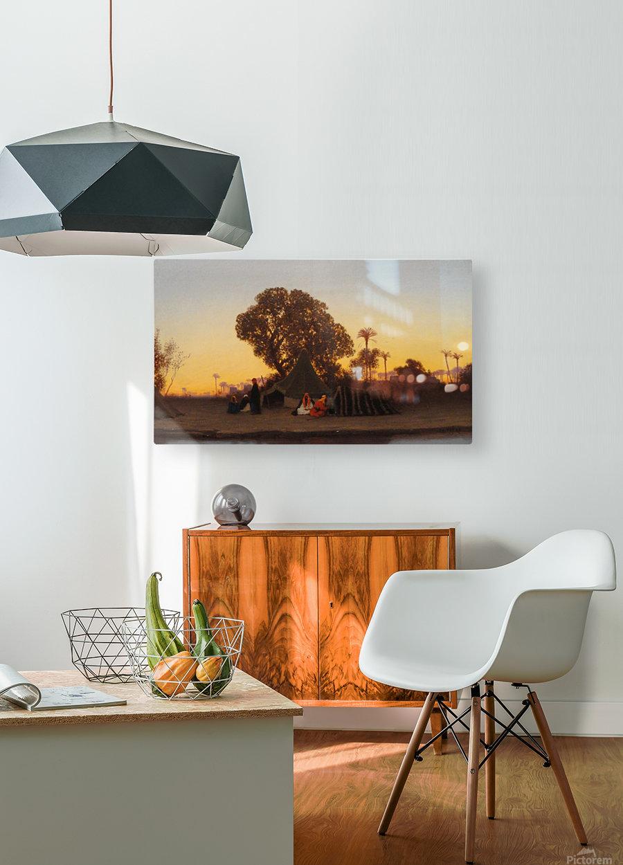 Arab encampment at sunset  HD Metal print with Floating Frame on Back