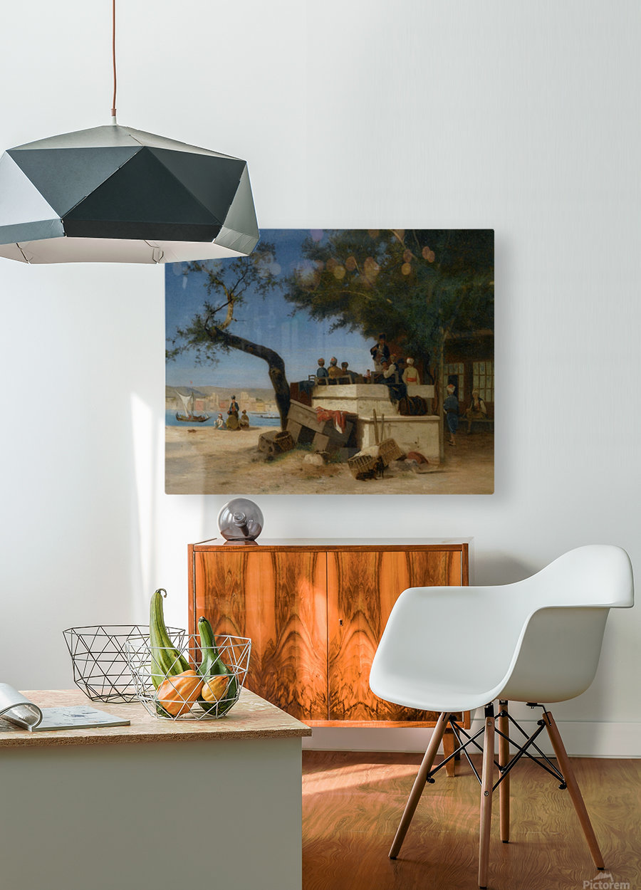 An Eastern Cafe  HD Metal print with Floating Frame on Back