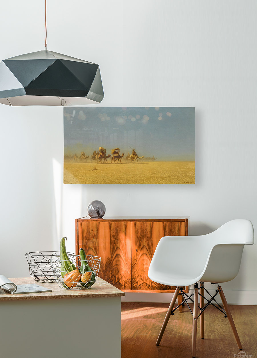 Camel train in the desert  HD Metal print with Floating Frame on Back