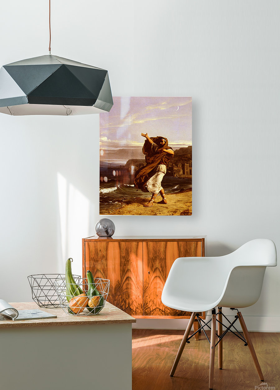 A young man in the wind  HD Metal print with Floating Frame on Back