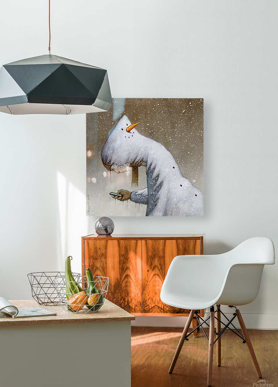 snowman  HD Metal print with Floating Frame on Back