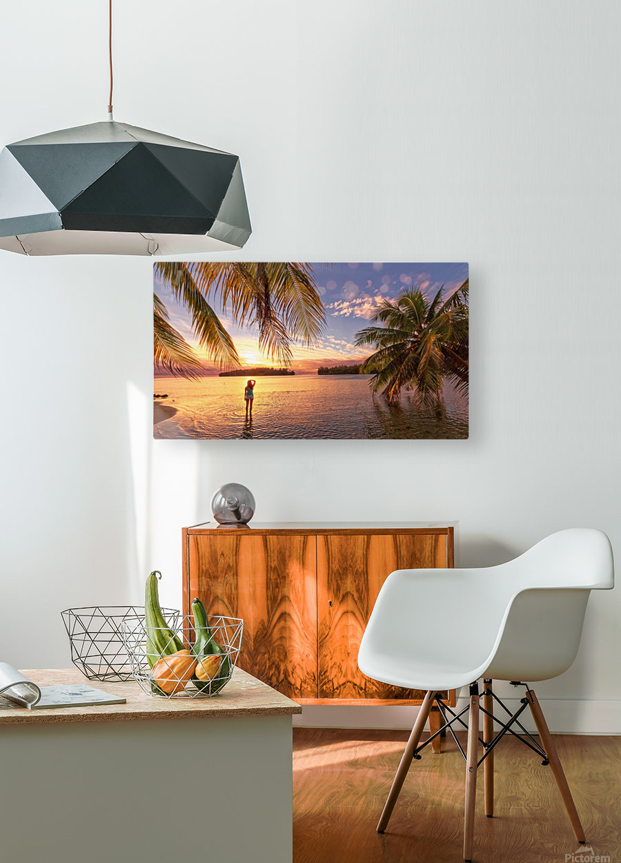 Tahitian sunsets  HD Metal print with Floating Frame on Back