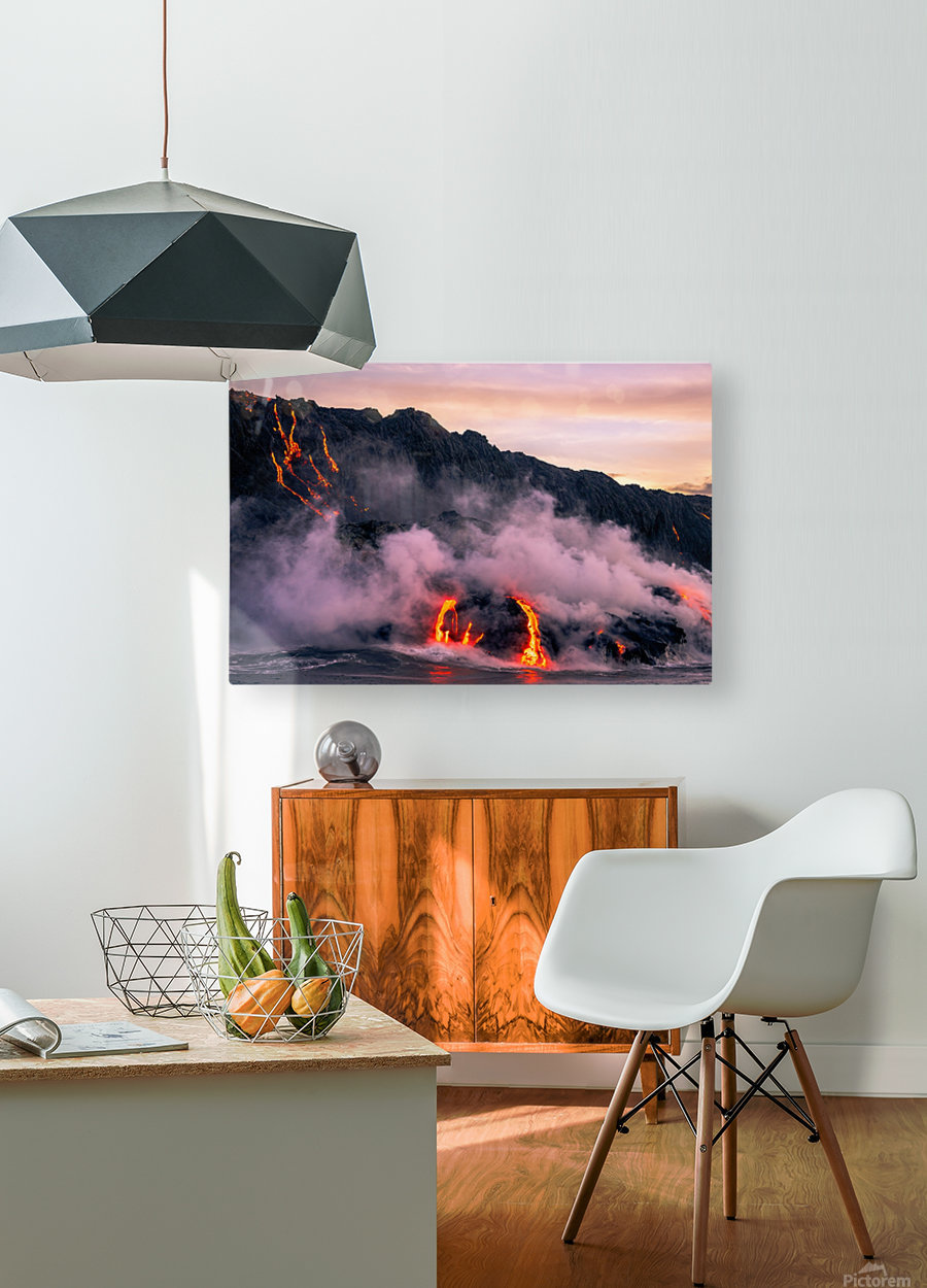 Sunrise at the lava flow  HD Metal print with Floating Frame on Back