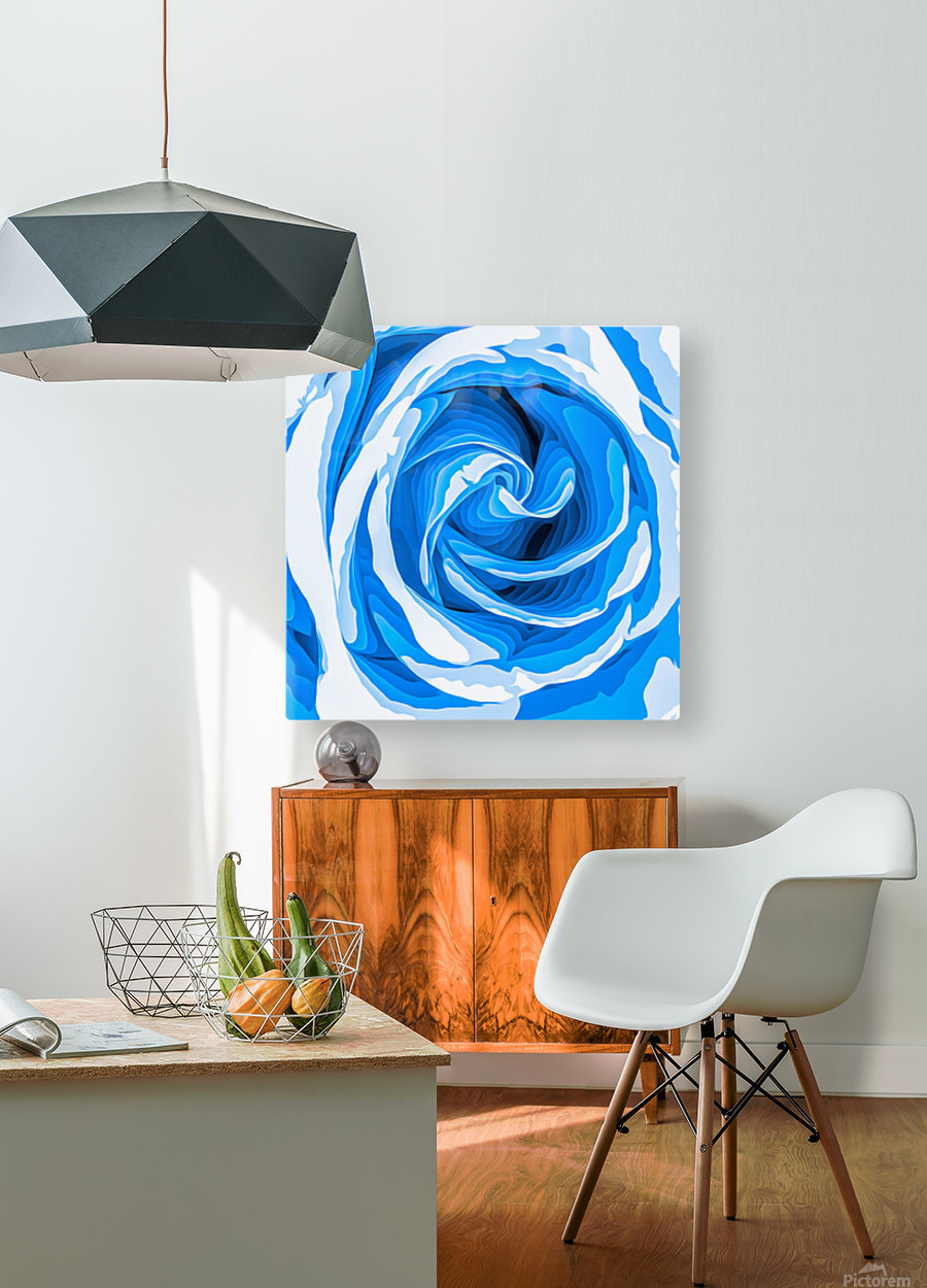 closeup blue rose texture abstract background  HD Metal print with Floating Frame on Back
