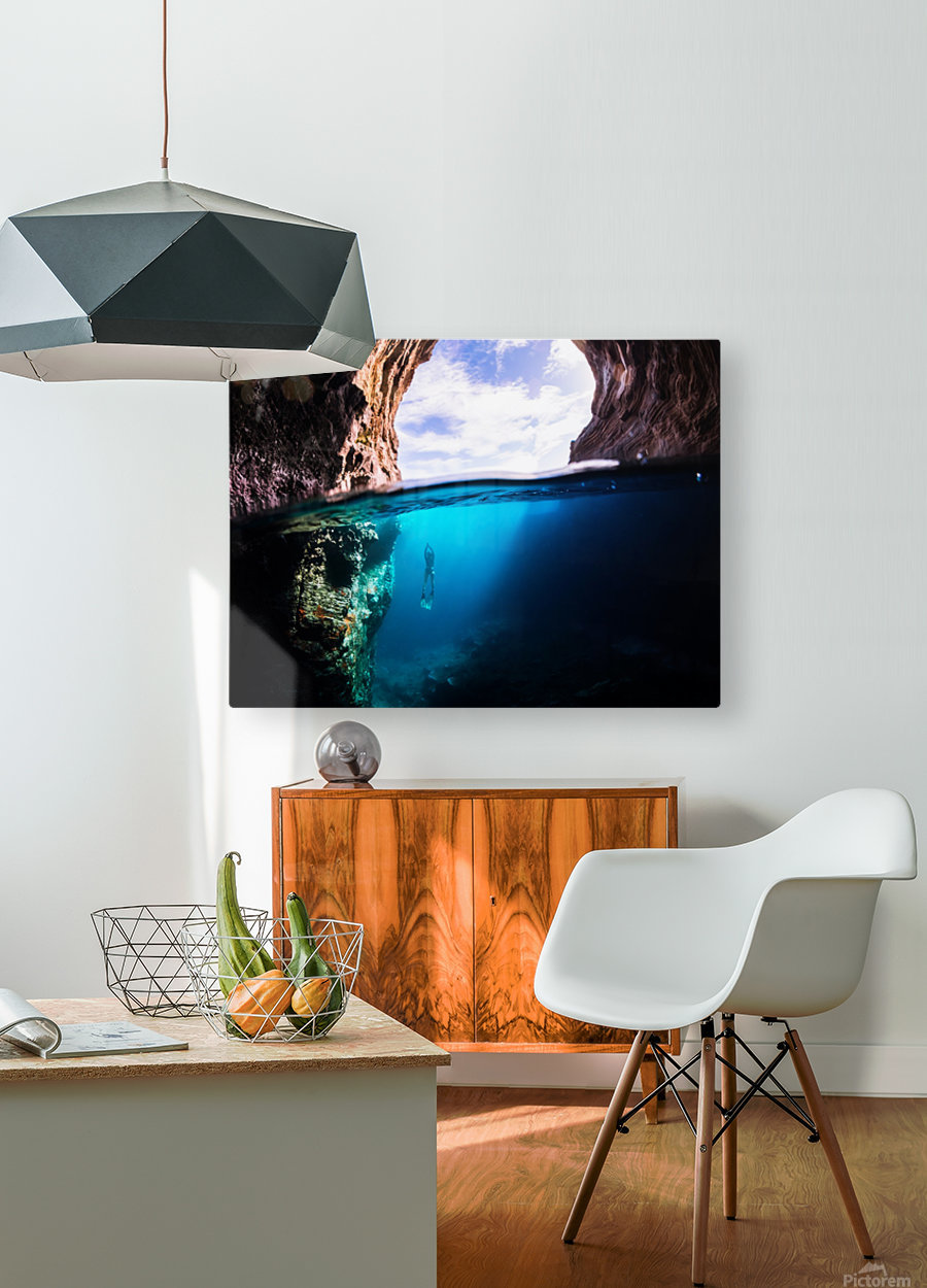 Cave diving  HD Metal print with Floating Frame on Back