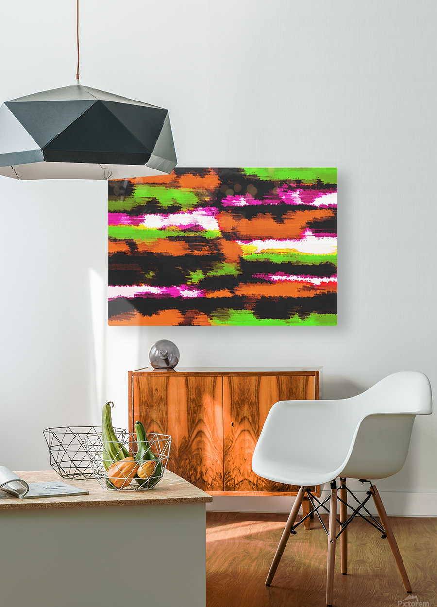 orange black pink green grunge painting texture abstract background  HD Metal print with Floating Frame on Back