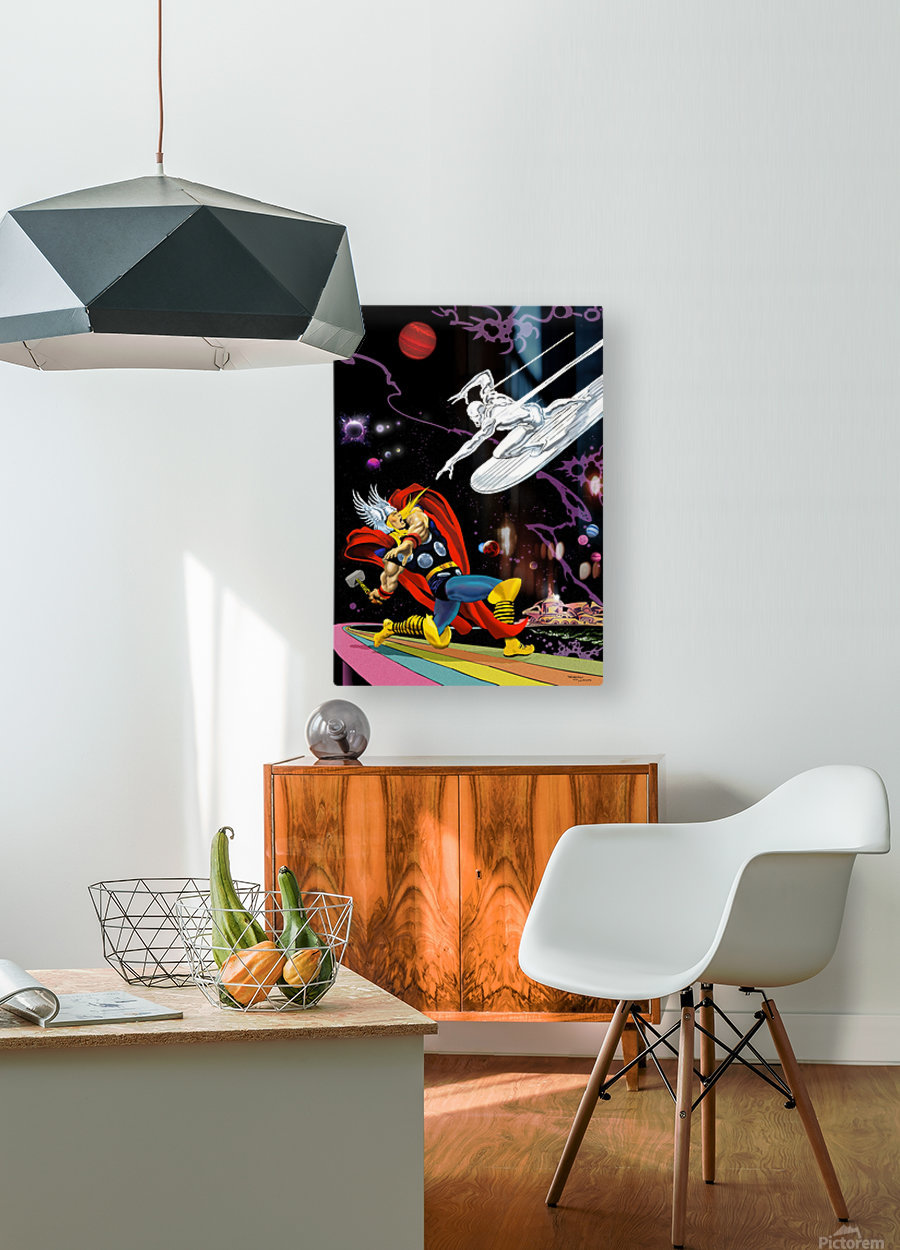 Marvel: Thor vs The Silver Surfer  HD Metal print with Floating Frame on Back