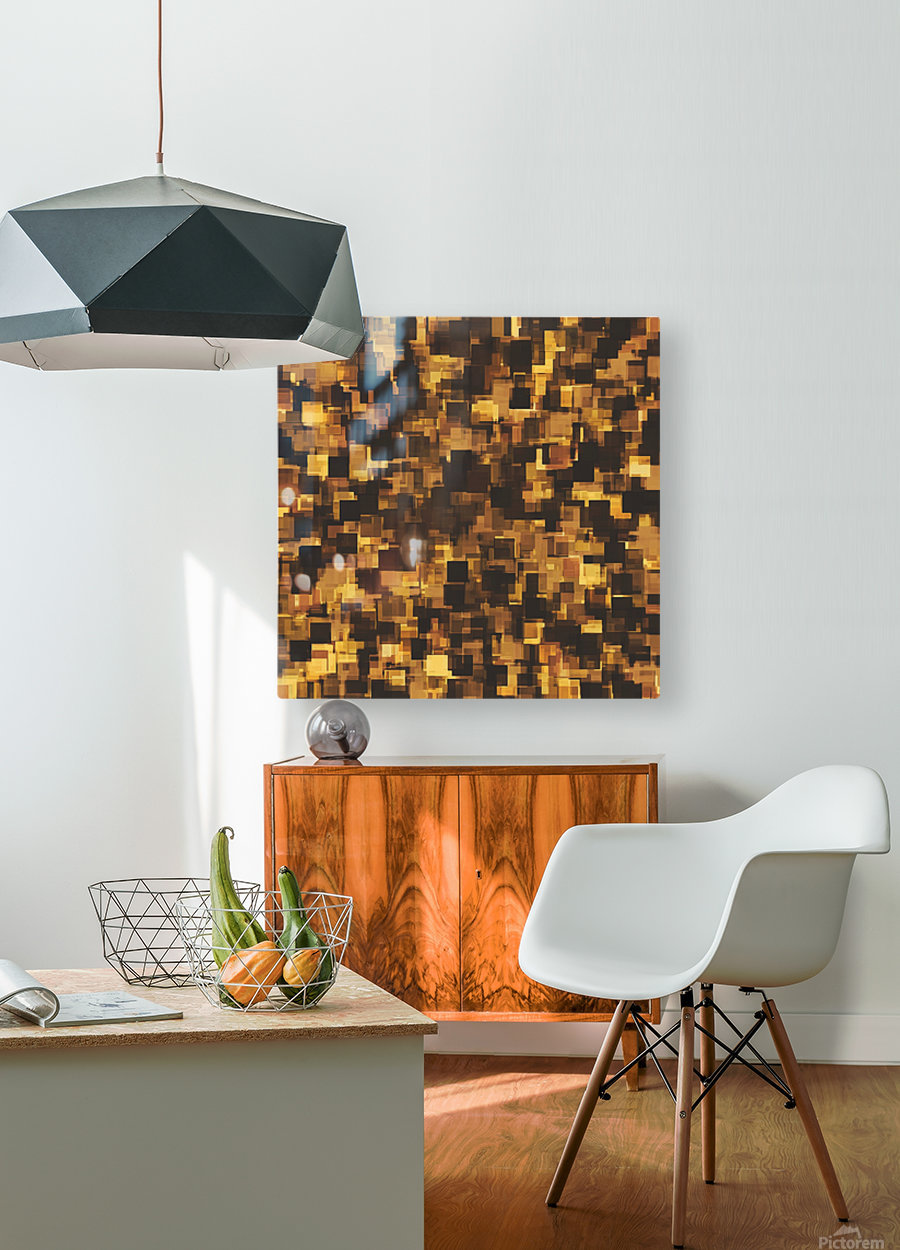 geometric square pattern abstract in brown and black  HD Metal print with Floating Frame on Back