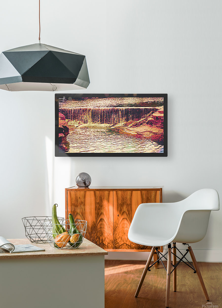 Medicine Park waterfall pic art  HD Metal print with Floating Frame on Back