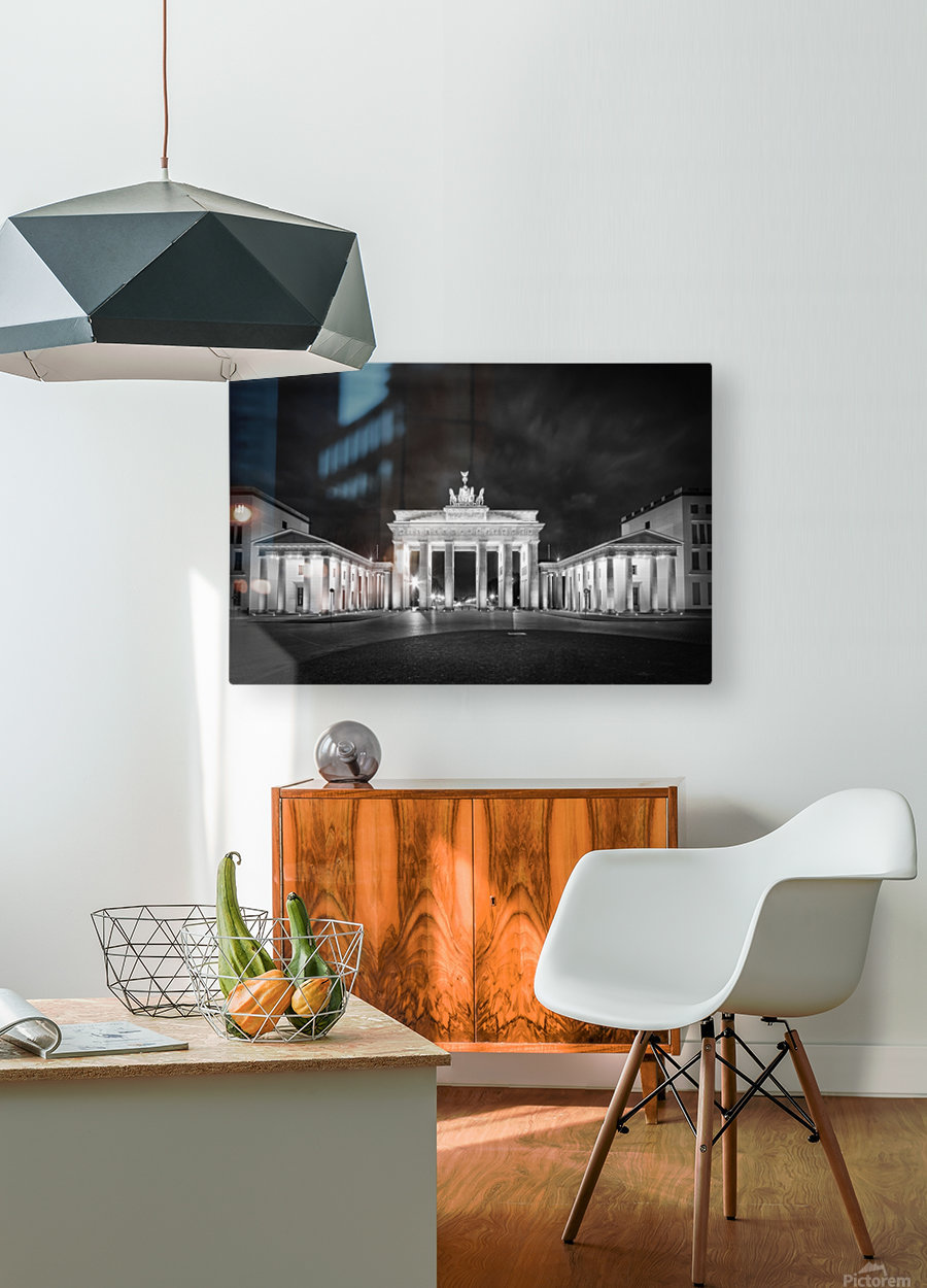 BERLIN Brandenburg Gate   Monochrome  HD Metal print with Floating Frame on Back