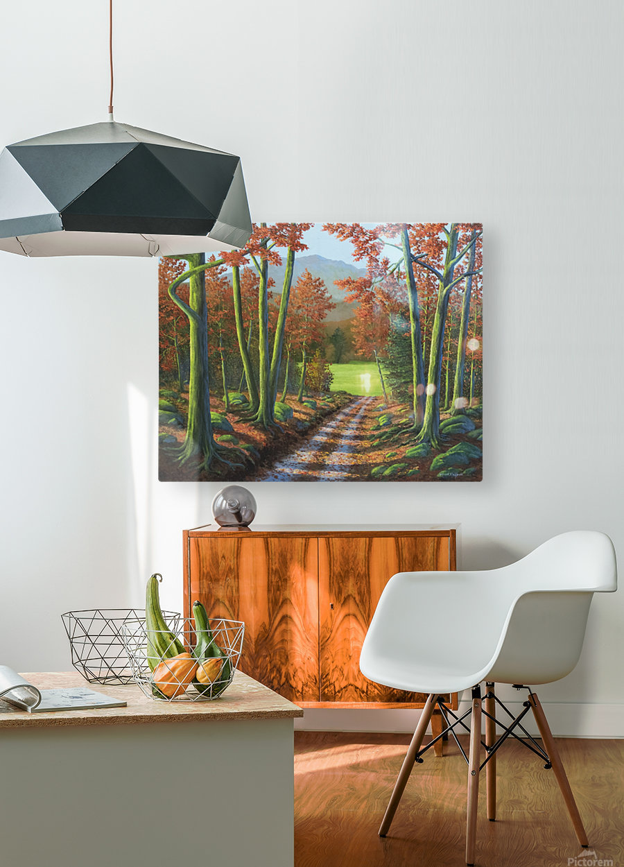 Maple Forest Road  HD Metal print with Floating Frame on Back
