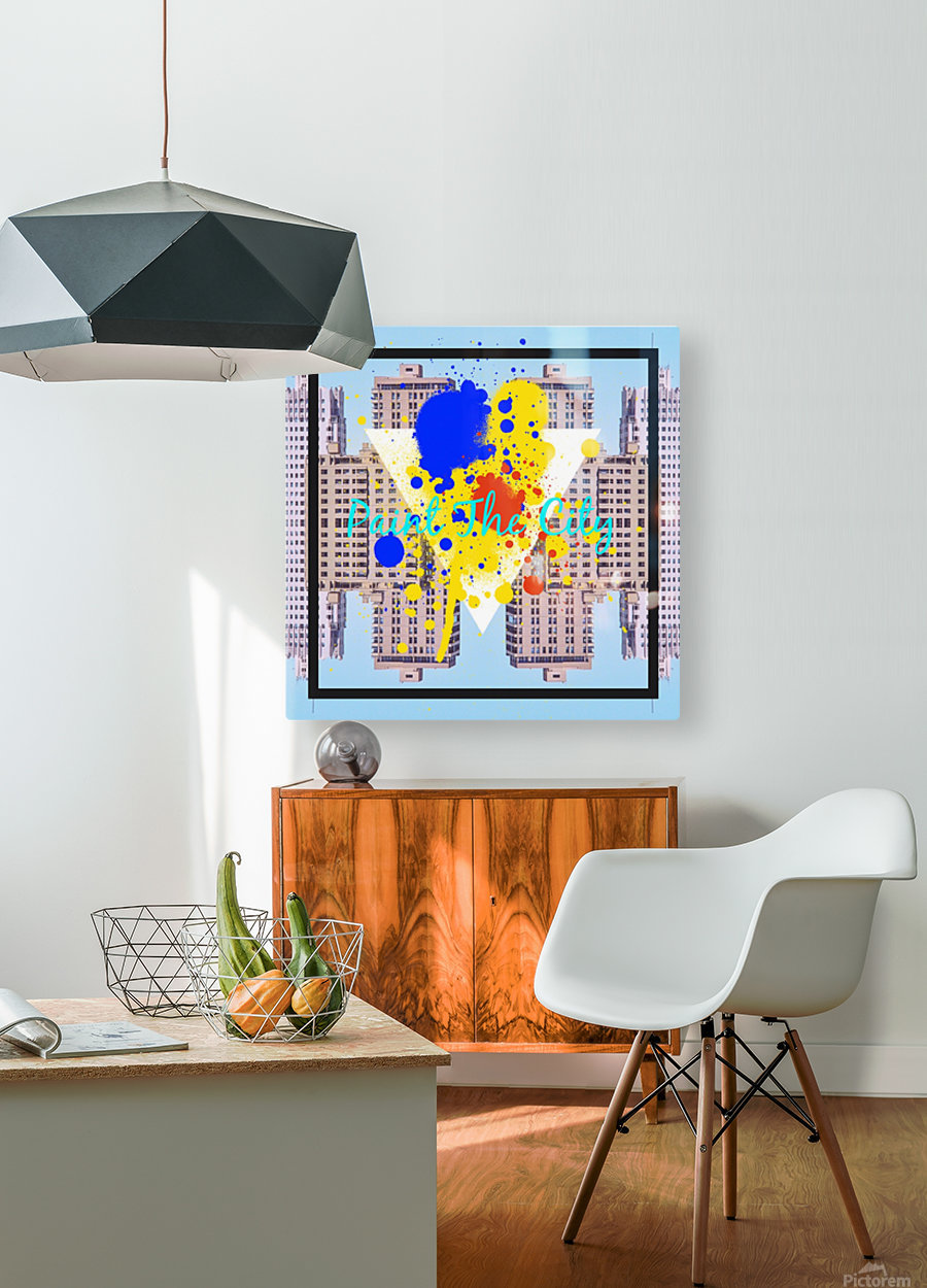 paint the city yellow blue and orange with buildings background  HD Metal print with Floating Frame on Back