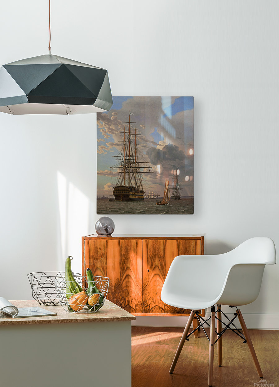 A Russian ship of the Line Asow and a Frigate at Anchor in the Roads of Elsinore  HD Metal print with Floating Frame on Back