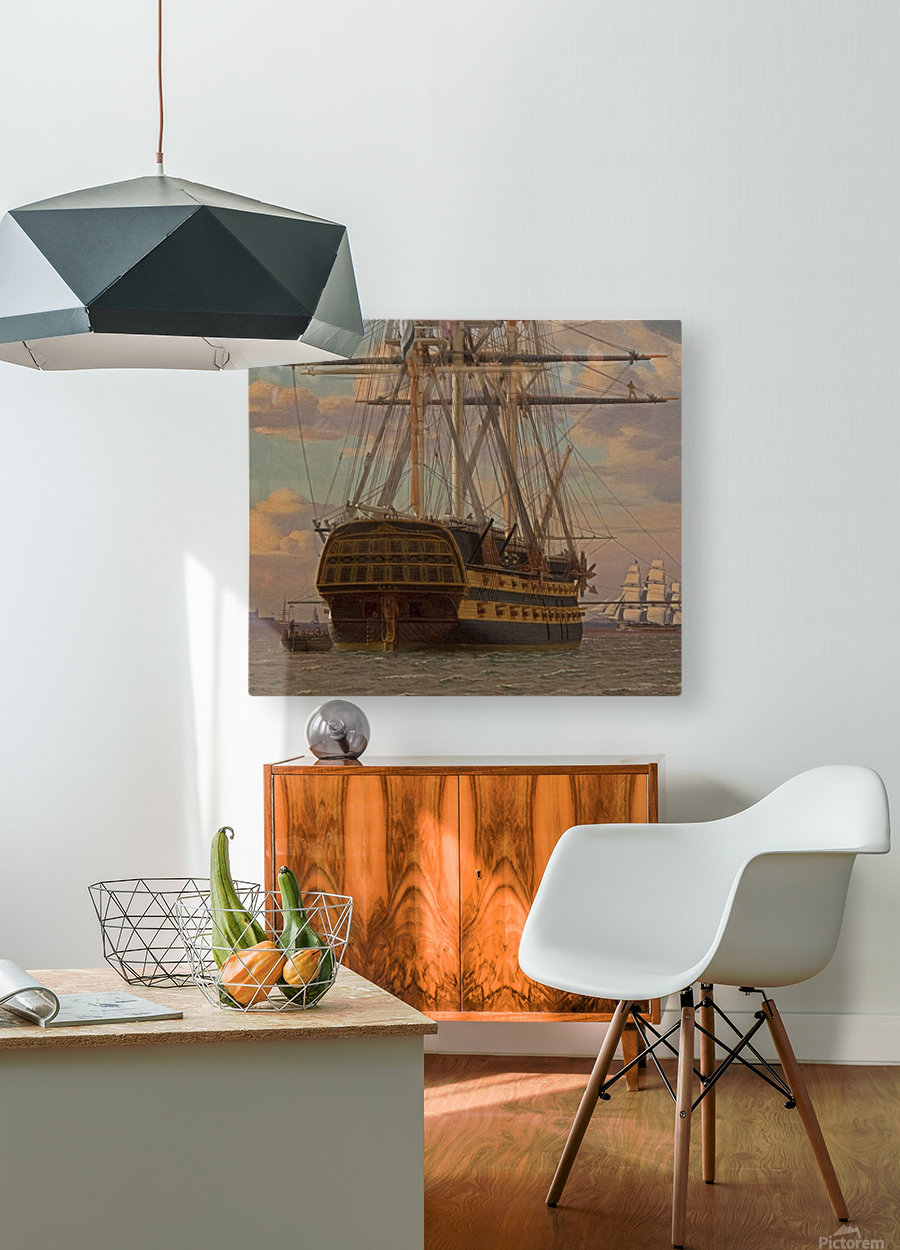 The Russian ship of the line Asow and a frigate at Anchor in the Roads of Elsinore  HD Metal print with Floating Frame on Back