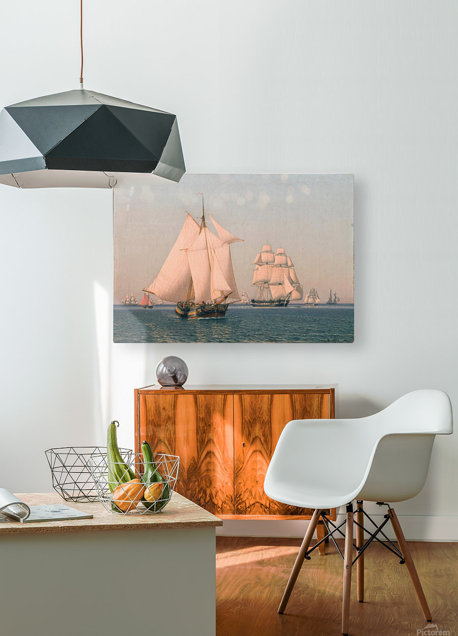 Ships under sail in mild breeze on clear summer afternoon  HD Metal print with Floating Frame on Back