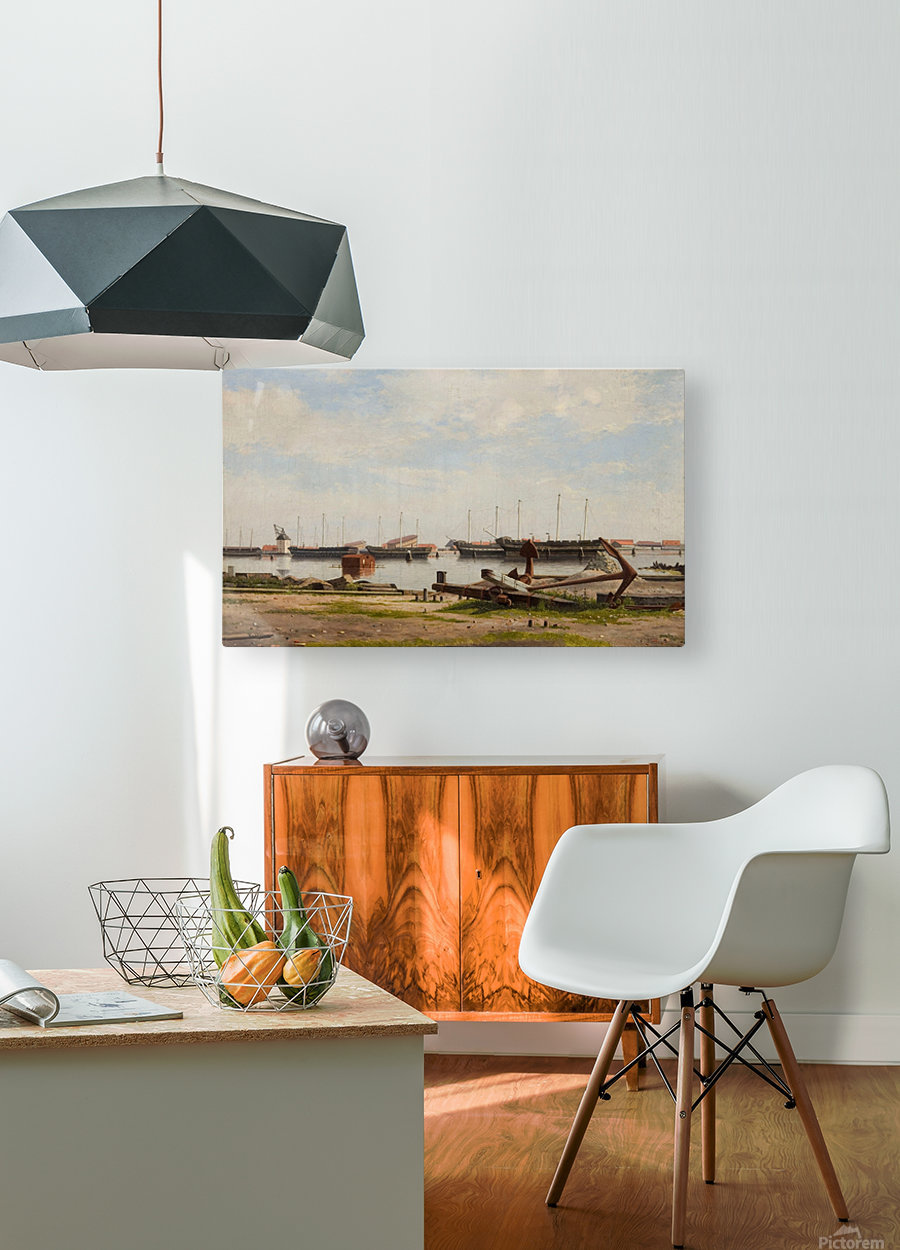 View of the wharf at Nyholm with the crane and some warships  HD Metal print with Floating Frame on Back