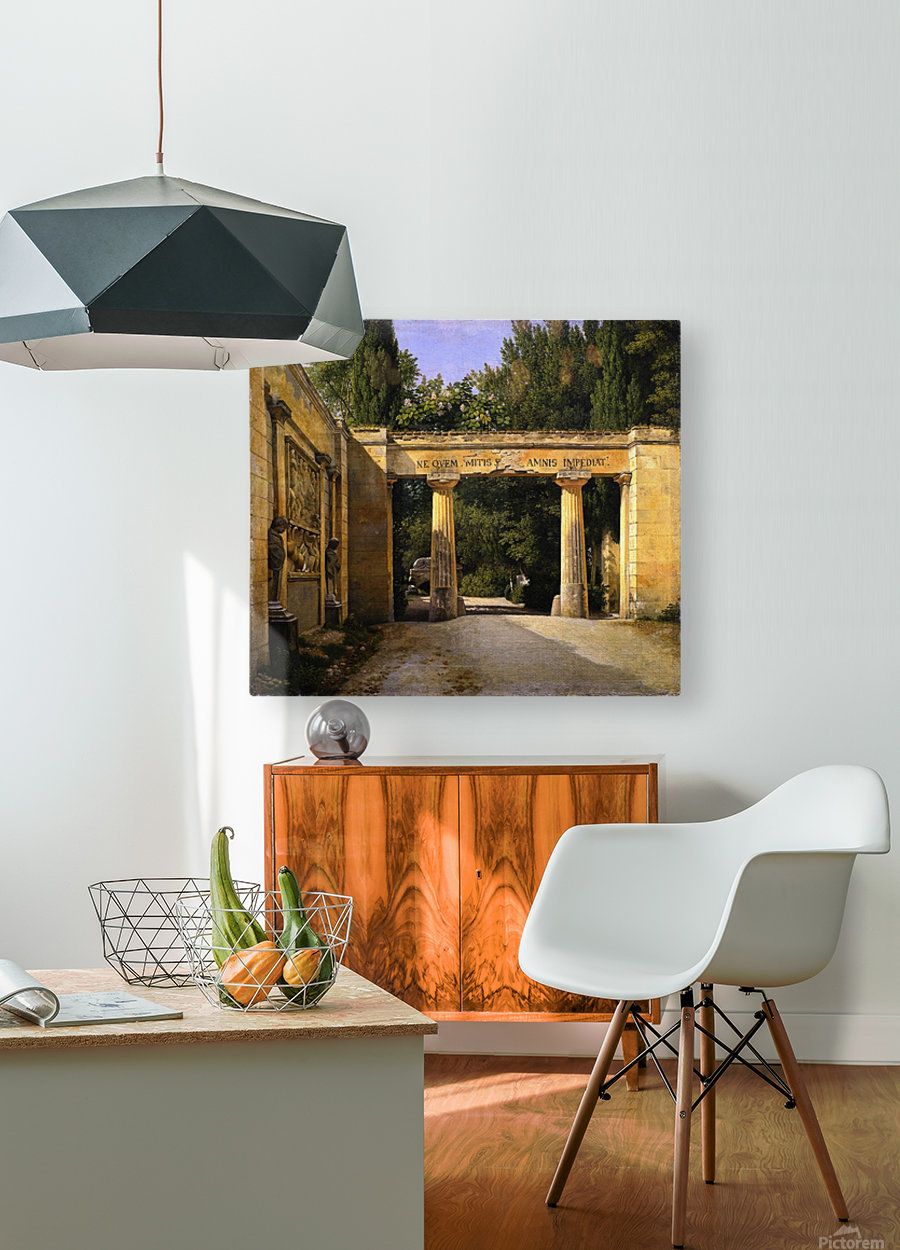 View of the Garden of the Villa Borghese in Rome  HD Metal print with Floating Frame on Back