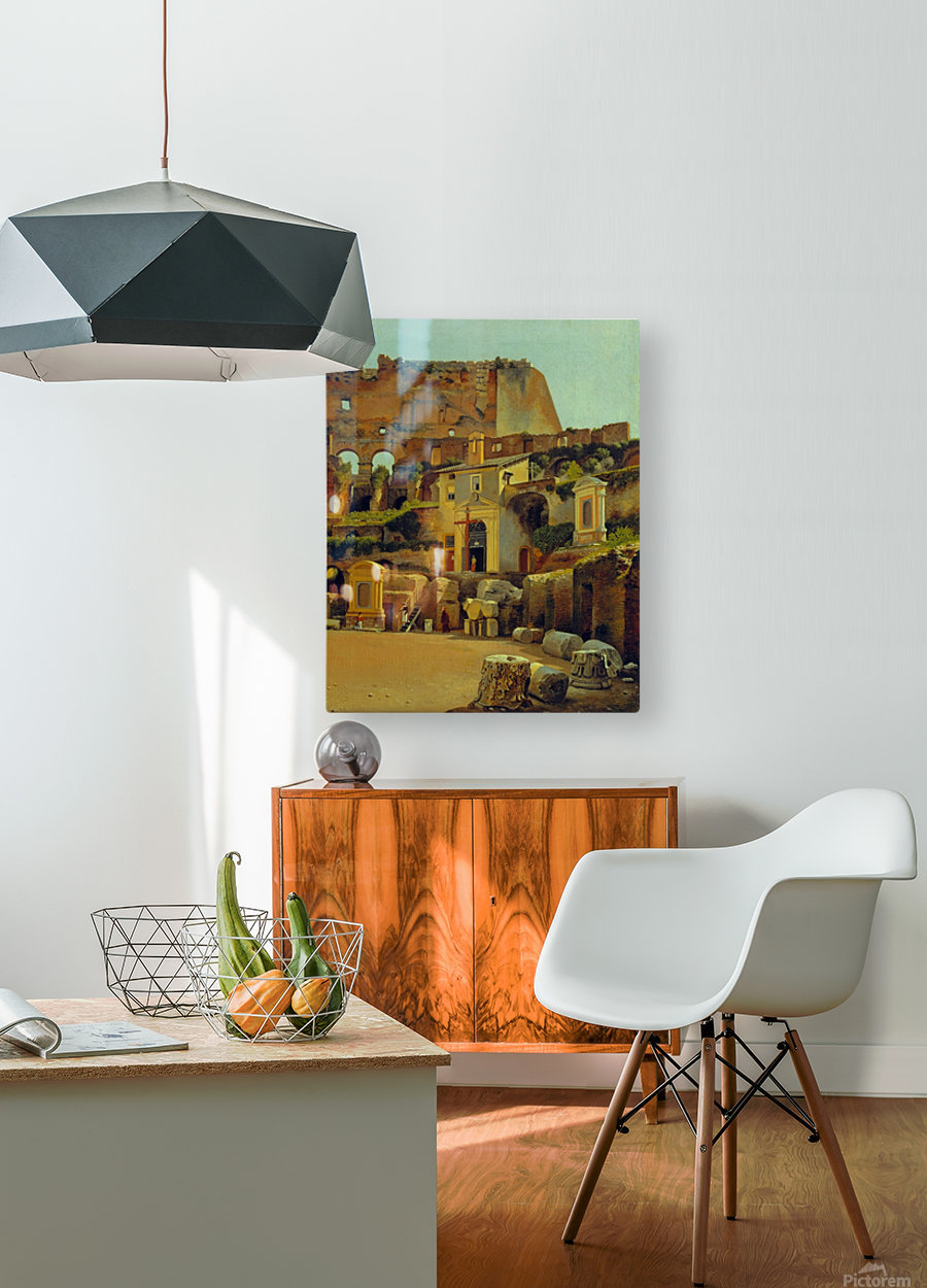 Interior of the Colosseum in Rome  HD Metal print with Floating Frame on Back