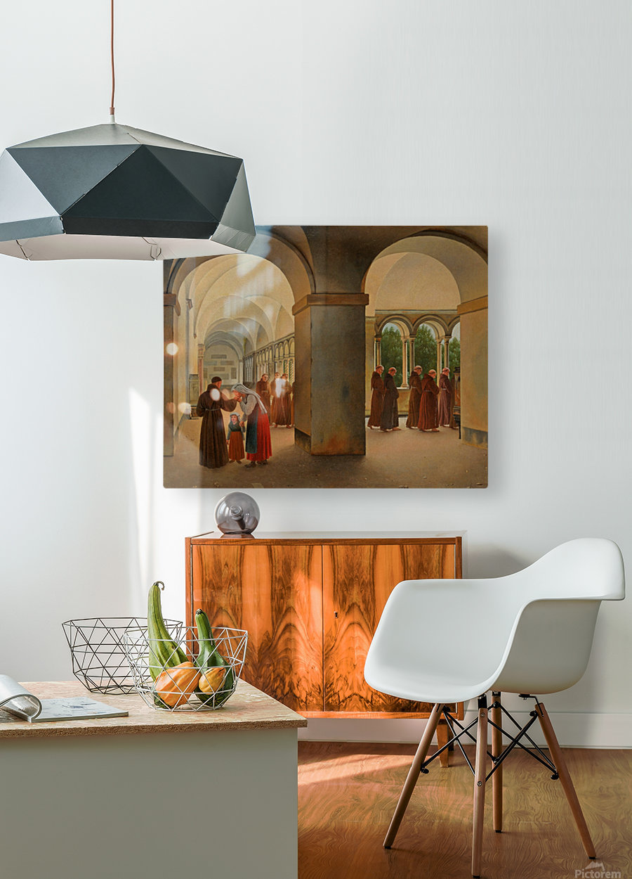 Procession of monks in the cloister of the Basilica San Paolo Fuori le Mura in Rome  HD Metal print with Floating Frame on Back