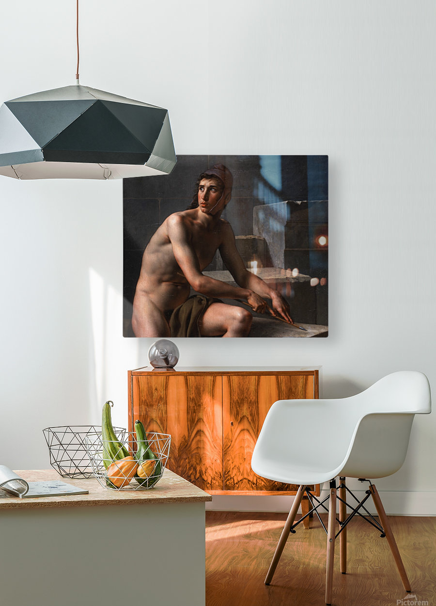 A young bowman sharpening his arrow  HD Metal print with Floating Frame on Back
