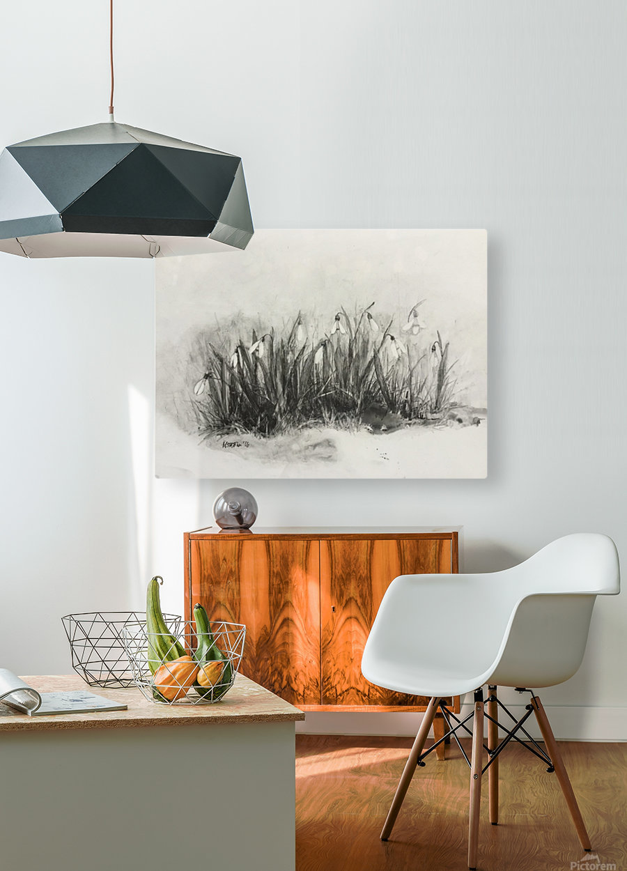 Snowdrops  HD Metal print with Floating Frame on Back