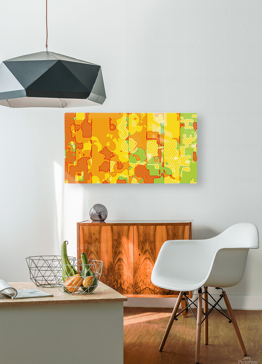graffiti drawing abstract pattern in yellow brown and blue  HD Metal print with Floating Frame on Back