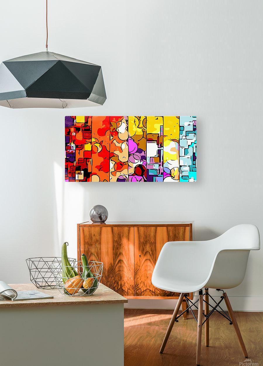 psychedelic geometric graffiti drawing and painting in orange pink red yellow blue brown purple and yellow  HD Metal print with Floating Frame on Back