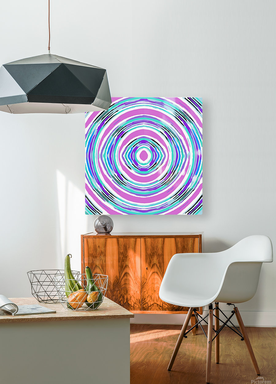 psychedelic graffiti circle pattern abstract in pink blue purple  HD Metal print with Floating Frame on Back