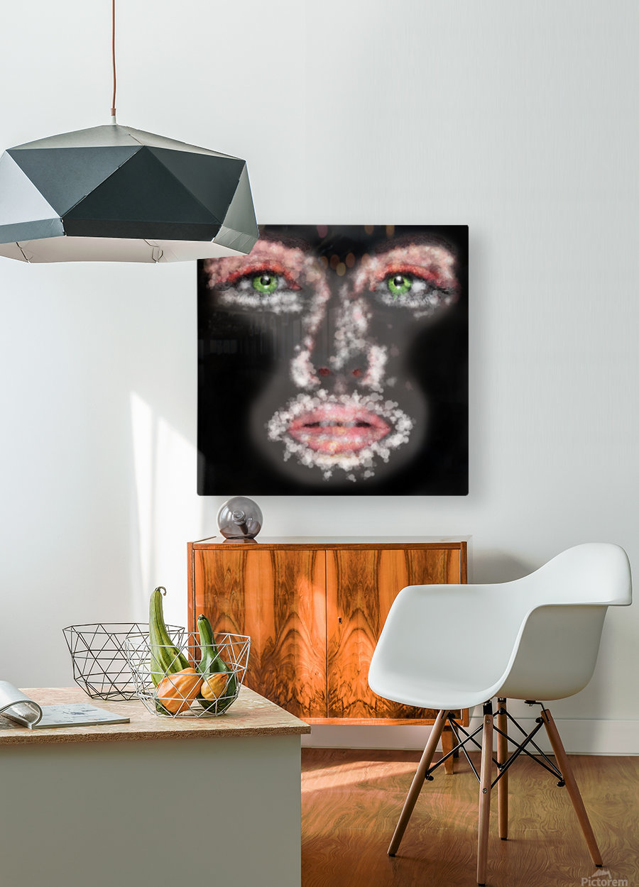 Kessania - white face  HD Metal print with Floating Frame on Back