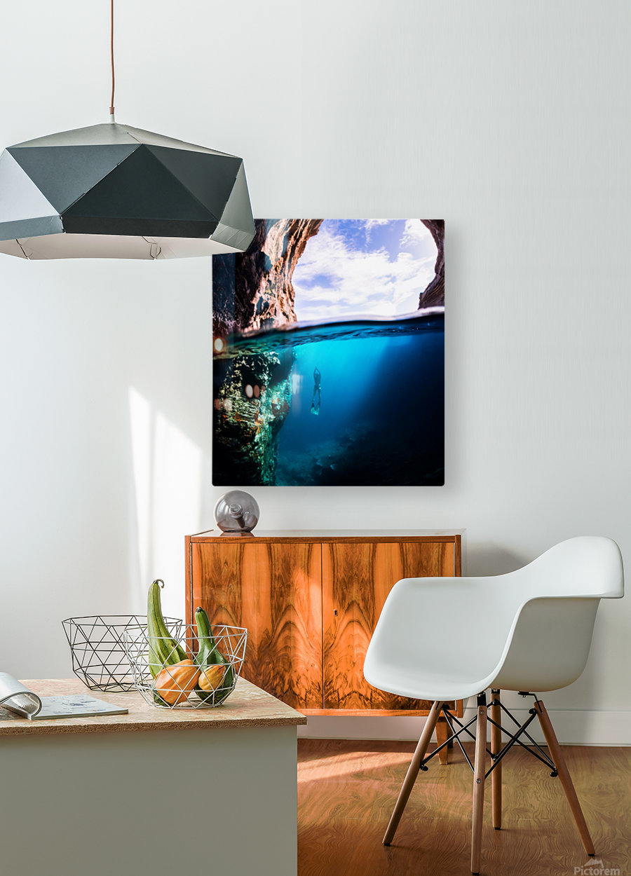 Cave diving vert  HD Metal print with Floating Frame on Back