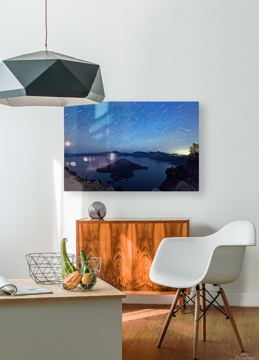Perseid Over Crater Lake 8 11 2015  HD Metal print with Floating Frame on Back
