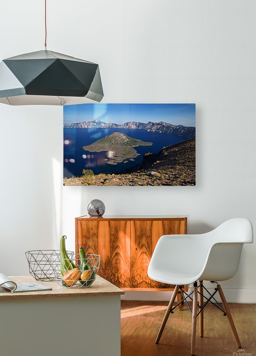 West rim view of Crater Lake overlooking Wizard Island  HD Metal print with Floating Frame on Back