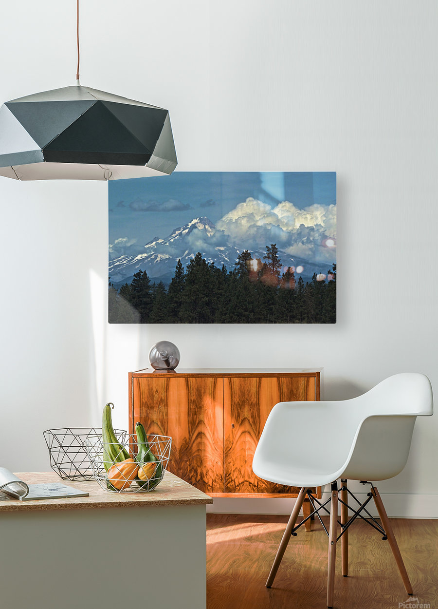 Mt Hood & Clouds  HD Metal print with Floating Frame on Back