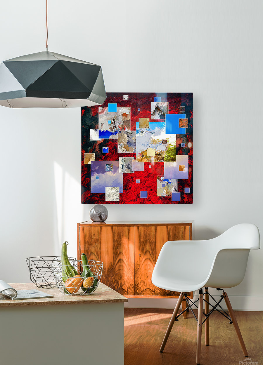 Espanissia - square flowers  HD Metal print with Floating Frame on Back