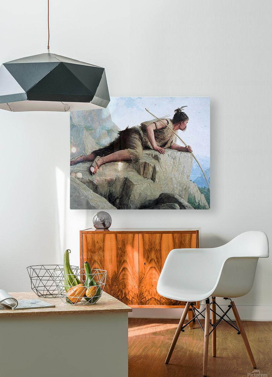 Der Pfahlbauer, 1886  HD Metal print with Floating Frame on Back