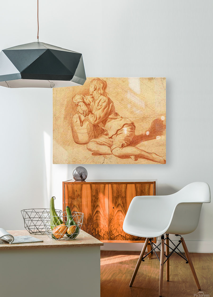 Study of a seated boy leaning on a flagon  HD Metal print with Floating Frame on Back